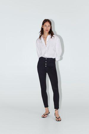 Zara Dames High waisted - Jeans zw premium high waist met knoopgulp