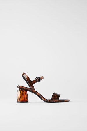 Zara Sandaaltjes in schildpadlook met brede hak