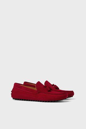 Zara Heren Schoenen - Red leather driving shoes