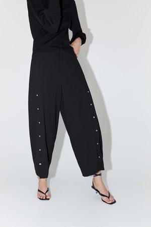 Zara Dames Wijde broeken - Wijde broek met appliqués