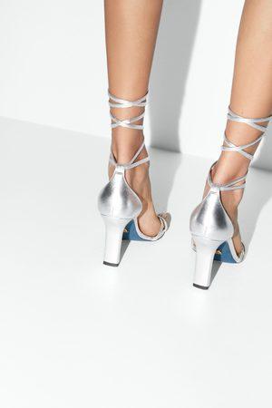 Zara Dames Sandalen - Leren sandalen met hak en veter blue collection