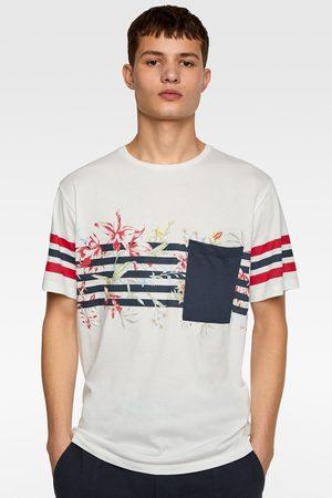 Zara T-shirt met gecombineerde strepen