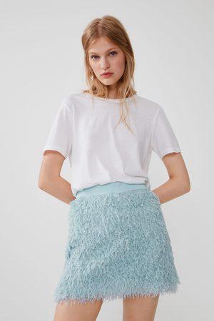Zara Dames Korte & Mini rokken - Minirok met veertjeseffect