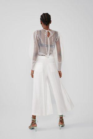 Zara Cropped broek met sierstiksel