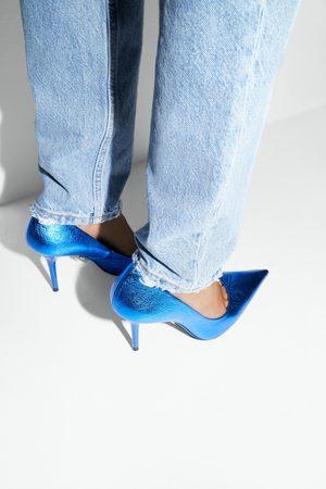 Zara Leren schoenen met hak in metallic look blue collection