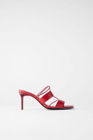 Zara Leren sandalen met hak en bandjes