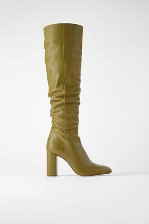Zara Leren laarzen met hak en hoge schacht