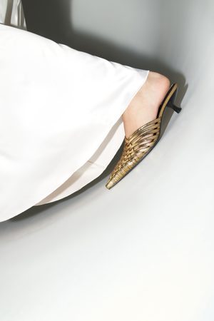 Zara Gevlochten muiltjes met hak in metallic look