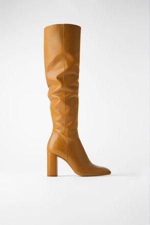 Zara Dames Hoge laarzen - Leren laarzen met hak en hoge schacht
