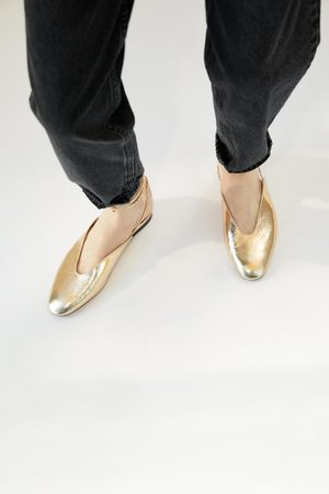 Zara Ballerina in metallic look met veter