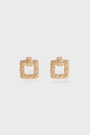 Zara Vierkante oorbellen met textuur