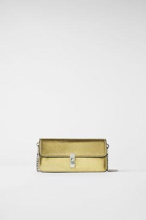 Zara Schoudertas in portemonneestijl in metallic look