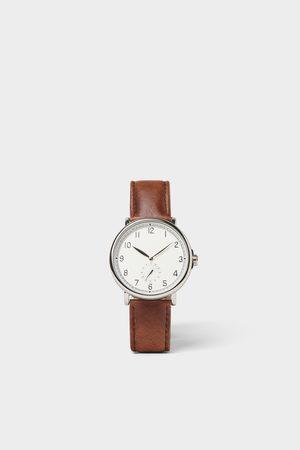 Zara Horloge in vintage look met bruin leren bandje