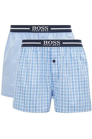 HUGO BOSS Heren Pyjama's - Set van twee pyjamashorts in geweven katoenen popeline