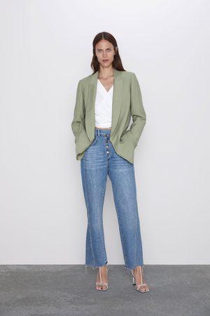 Zara Jeans z1975 met hoge taille met knopen