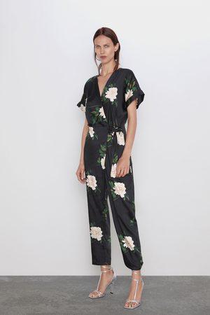 Zara Double-breasted jumpsuit met print