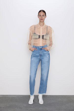 Zara Straight jeans z1975 met hoge taille en scheuren