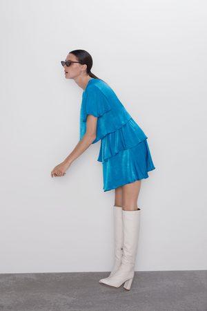 Zara Zijdeachtige jurk met volants