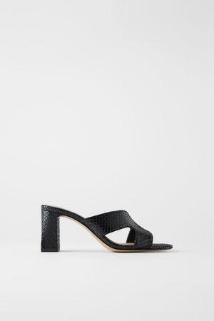 Zara Dames Sandalen - Muiltjes met hak en dierenprint