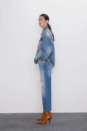Zara Straight cropped jeans z1975 met high rise en scheuren