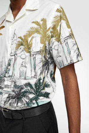 Zara Popeline blouse met palmbomenprint