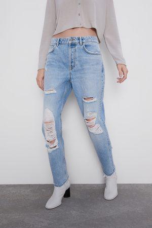 Zara Z1975 mom fit jeans met scheuren