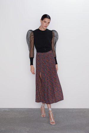 Zara Rok met bloemenprint en splitten