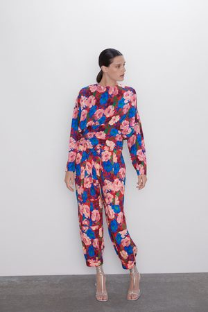 Zara Broek met bloemenprint en ceintuur