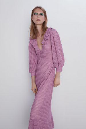 Zara Gestructureerde tricot jurk met volants