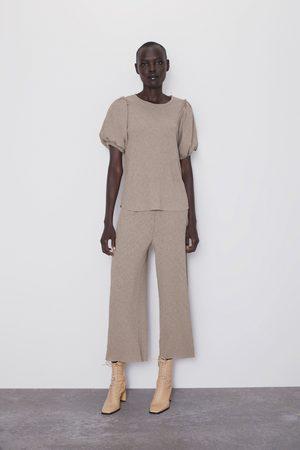 Zara Dames Pantalons - Broek met kreukeleffect
