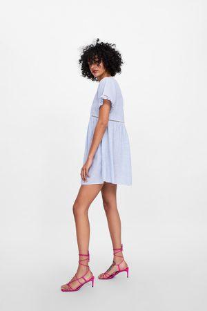 Zara Gestreepte jurk met knopen en gehaakte details