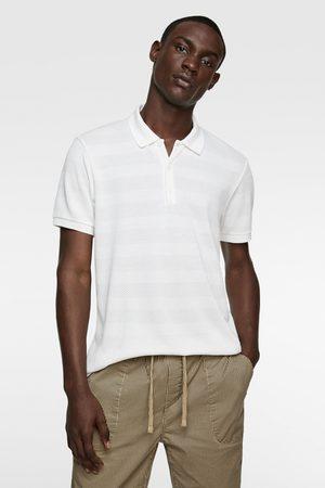 Zara Striped textured polo shirt