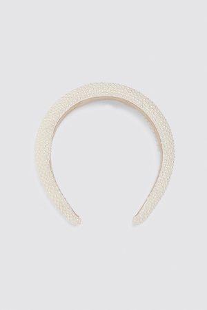 Zara Gewatteerde diadeem met parels