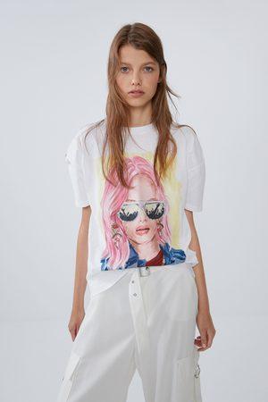 Zara Dames Shirts - T-shirt met print op het voorpand