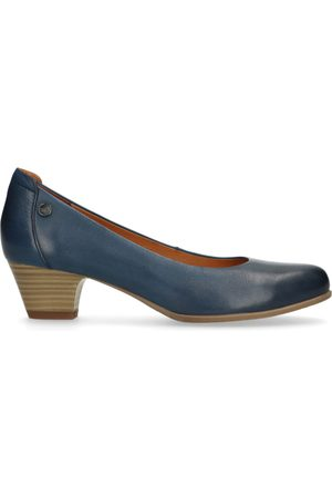 No Stress Blauwe pumps met lage hak