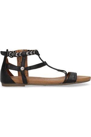 No Stress Zwarte sandalen met gevlochten metallic bandje