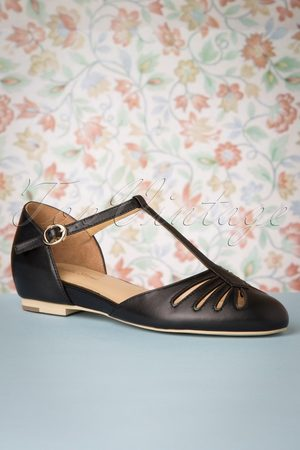 Charlie Stone 50s Singapore T-Strap Flats in Black