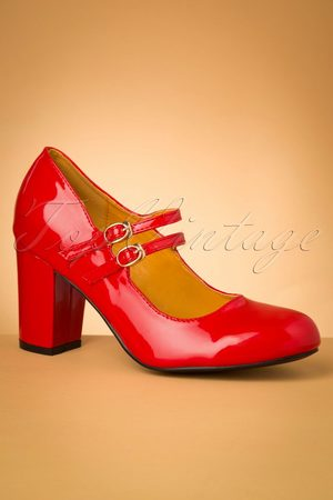 Banned♥TopVintage 60s Golden Years Lacquer Pumps in Lipstick Red