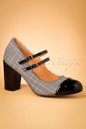 Banned♥TopVintage 60s Golden Years Check Pumps in Black