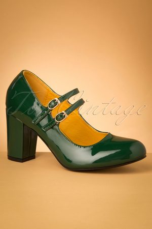 Banned♥TopVintage 60s Golden Years Lacquer Pumps in Bottle Green