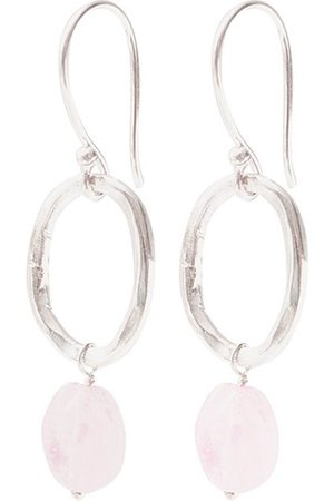 A Beautiful Story Oorbellen Graceful Rose Quartz Silver Earrings