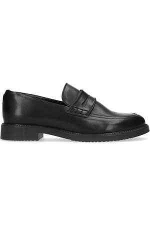 Manfield Dames Loafers - Zwarte leren loafers