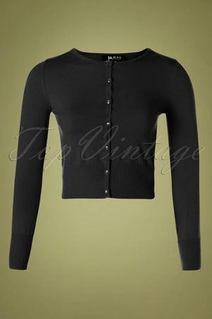 Mak Sweater Dames Cardigans - 50s Nyla Cropped Cardigan in Black