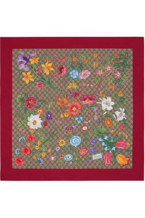 Gucci GG Flora print silk scarf