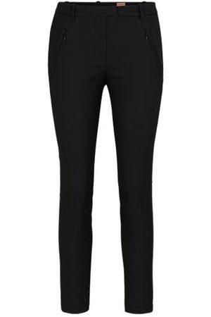 HUGO BOSS Dames Slim & Skinny broeken - Slim-fit broek met ritsjes onderaan de pijpen
