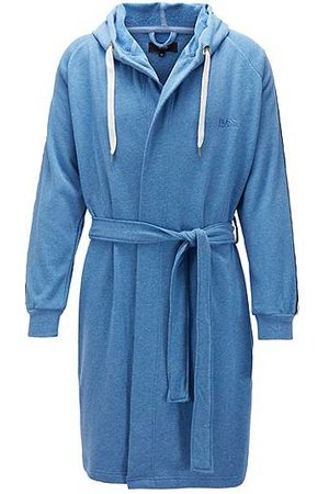 HUGO BOSS Badjassen - Cotton-blend hooded bathrobe with striped sleeves