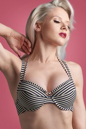Marlies Dekkers Dames Bikini's - 50s Holi Vintage Balcony Bikini Top in Blue and Ecru