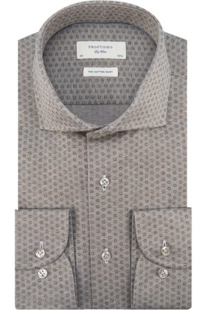 Profuomo Sky Blue Slim fit Knitted Heren Overhemd LM