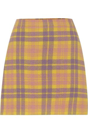 Miu Miu Checked wool-blend miniskirt