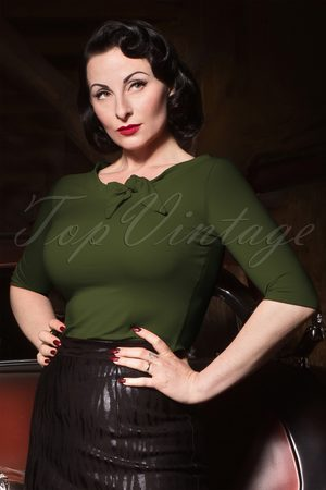 Heart of Haute 50s Lily Bow Top in Olive